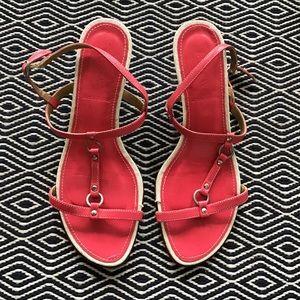 JCrew Red kitten heel Sandals size 7